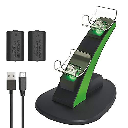 Jiaermei Xbox One Controller Akku, wechseln Sie die Batterie zyklisch Xbox One Ladestation mit 2 Stück 1400mA Gamepad Dual Akku Set mit LED Ladeanzeige