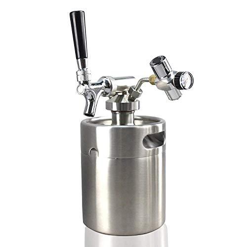 NutriChef Pressurized Growler Tap System - Stainless Steel Mini Keg Dispenser Portable Kegerator Kit - Co2 Pressure Regulator Keeps Carbonation for Craft Beer, Draft and Homebrew - (64oz)