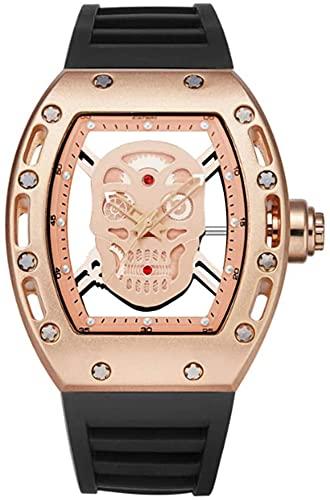 ZFAYFMA Correa clásica de la Correa de la Correa de la Correa de Cuarzo, Reloj Formal de Negocios de Moda Simple Retro de Moda con dial del Calavera, Pink