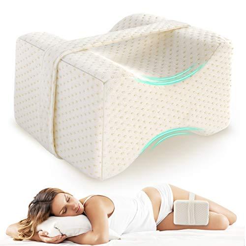 AODOOR Kniekissen für Seitenschläfer, Kniekissen, Ergonomisches Beinkissen, Memory Foam Leg Pillow, Knie-Kissen, Linderung von Druck und Schmerzen auf Beine, Hüften, Knie und Wirbelsäule