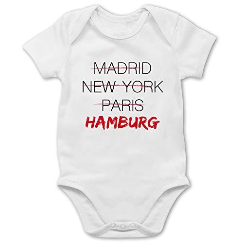Städte & Länder Baby - Weltstadt Hamburg - 3/6 Monate - Weiß - Body Hamburg - BZ10 - Baby Body Kurzarm für Jungen und Mädchen