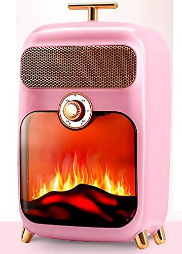 NFJ Elektrischer Kamin, E-Kamin, Kaminofen, Flammensimulation, 900 W Leistung, Geräuscharm, Nostalgisches Design, Weiß,Pink