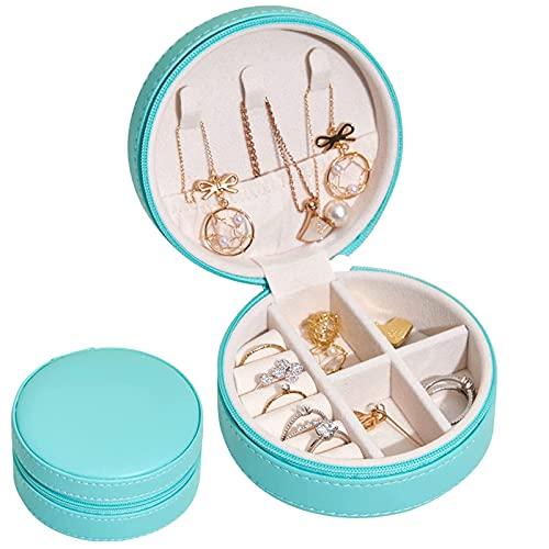 KDWOA - Joyero de viaje para mujer, organizador de joyas para niñas, pequeño almacenamiento de joyas para anillos, pendientes, collares, pulseras, color verde claro