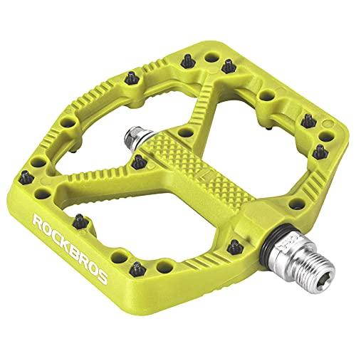 ROCKBROS Pedales de Bicicleta de Nylon, Gran Plataforma Antideslizante, para MTB Bicicleta Carretera BMX, 9/16 Pulgadas