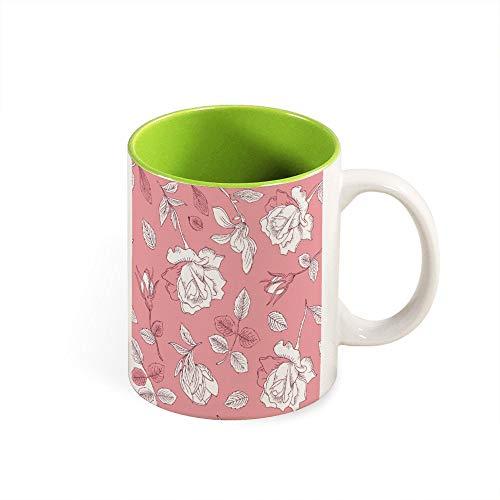 Farbiger Kaffeebecher mit Rosenmotiv, Keramik, tolles Geschenk für Geburtstag, Halloween, Weihnachten, Valentinstag, für Freund, Freundin., keramik, Grün-Stil1, Einheitsgröße