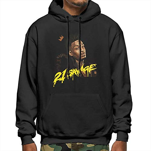 Boys Men's Spring Heavyweight Cosplay Hooded Sportswear for Flying 21-Savage Box Logo 3D Print Fashion Design Pullover Hoodie Top - Large Black