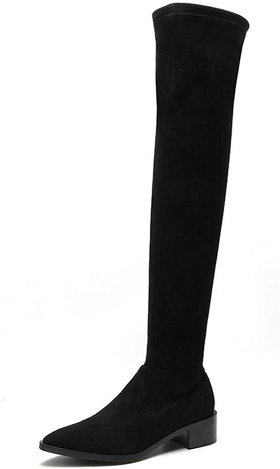 Shiney Women's shoes Over-The-Knee Boots Winter Suede Pointed Chunky Heel Plus Velvet Warm shoes