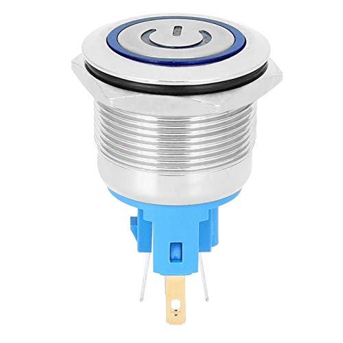 Emoshayoga Interruptor de botón de Metal AC220V Botón de 6 Pines con señal(Blue, Pink)