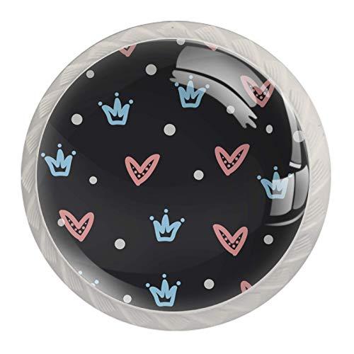 Perillas de armario de cocina, perillas decorativas redondas, armario, cajones, tocador, tirador, 4 piezas, corona de princesa, corazón gris