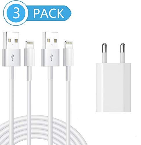 Phone Ladekabel MFi Zertifiziert 2Pack 1M Lightning Ladekabel mit Ladegerät Stecker Netzteils für iPhone11/11 Pro XS/Max/XR/X/8/8 Plus/7/7 Plus/6/6S/6 Plus/5S/SE/iPad Mini/Air/iPro