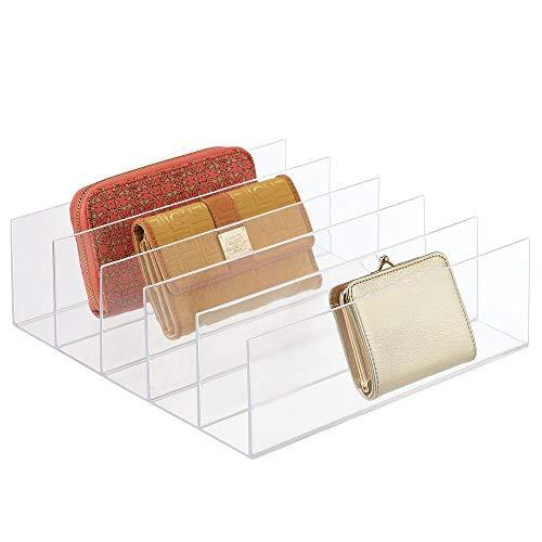 mDesign Clutch Organizer – praktische Handtaschen Aufbewahrung mit 5 Fächern für Clutches, Geldbörsen, Kartenetuis etc. – Portemonnaie Ablage aus Kunststoff – durchsichtig