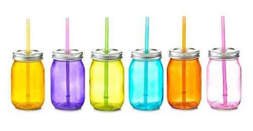 Zeller 6X Trinkglas, bunt, 450 ml, mit Deckel und Strohhalm, Gläser-Set, Glasflasche