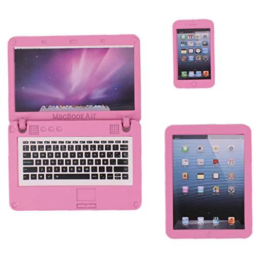 ZWSISU 3 Pack Doll Laptop Phone Pad Mini Doll Playset for American 18 Inch Dolls (Pink)
