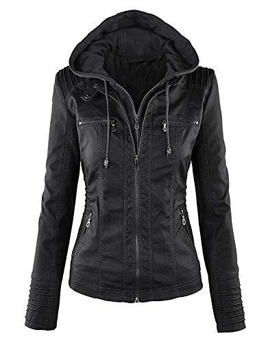 Niceast 女性スリム のレザージャケット長袖 取り外し可能なフード付きのジッパーコートジャケットために春と秋の冬 暖かい防風