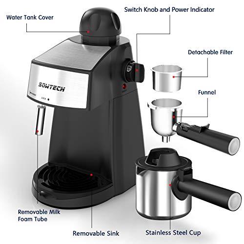 Espresso Machine 3.5 Bar 4 Cup Espresso Machine with Steam Milk Frother - Best Espresso Machine Under 200 Dollars