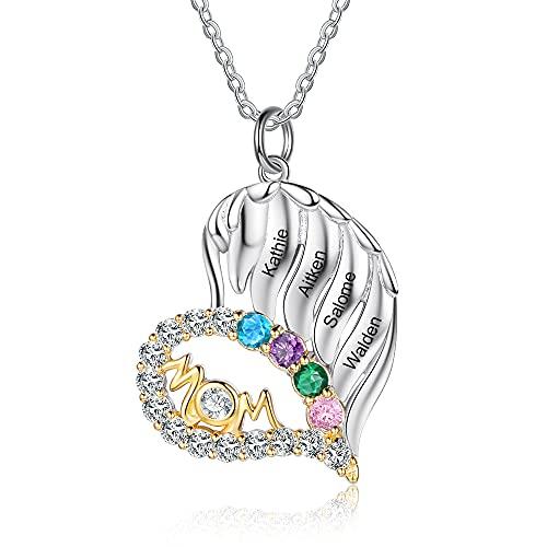 Personalizado Mum To Be Collar Amor Corazón Collares Colgantes Joyas Plata de ley 925 Joyas para el día de la madre Regalos de la hija para la mamá Abuela (4 nombres grabados)