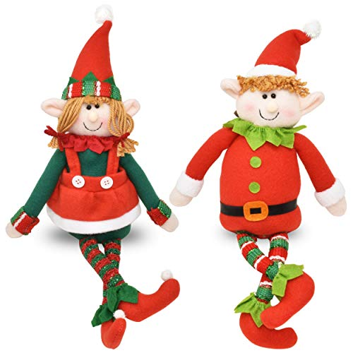 Set of 2 Christmas Elves Figurines 16' Boy and Girl Elf Stuffed Toys Plush Sitting Decorative Shelf Sitters Characters for Holiday Home Décor Santa Helper Decorations Holiday Plush Characters Gift
