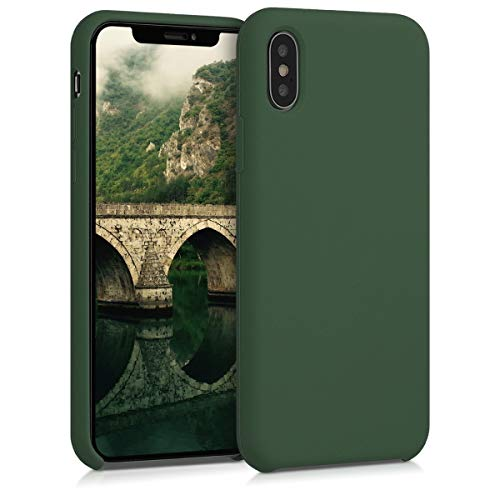 kwmobile Cover Compatibile con Apple iPhone X - Custodia in Silicone TPU - Back Case Protezione Cellulare Verde Scuro
