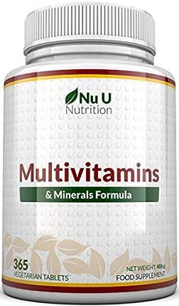 MultiVitamins & Minerals Formula | 24 complemento vitamínico (Vitaminas y Minerales | végétarien | hombre/mujer | Cure D '1 An/365 Pastillas | Suplemento de Nu U Nutrition