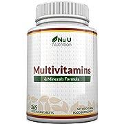 Multivitamins & Minerals Formula   24 Vitamines et Minéraux   Végétarien   Homme/Femme   Cure d'1 An/365 Comprimés   Compléments alimentaires de Nu U Nutrition