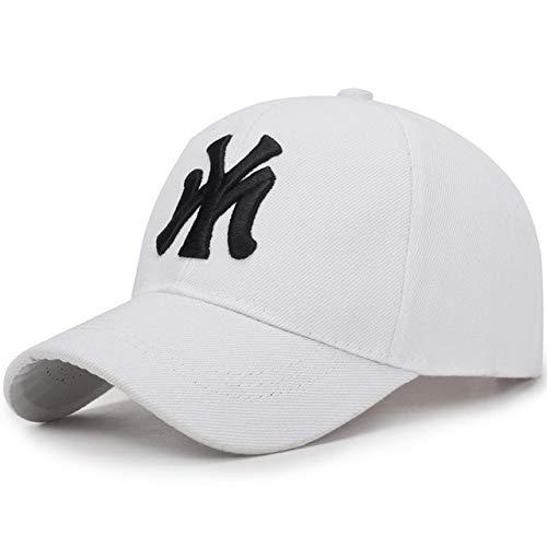 Deporte al Aire Libre Gorra de béisbol Primavera y Verano Moda Ajustable Hombres Mujeres Gorras Moda Hip Hop Sombrero-White-Adjustable