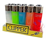 US24 Pack of Clipper Refillable Cigarette Lighters - 5 pcs Assorted Colors