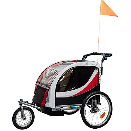 GT-LYD Kinderanhänger Fahrradanhänger Kinder,2 in 1 Multifunktionsfahrrad Kindertrage Kinderanhänger Kinderwagen Jogger Kit in Stahlrahmen Little Baby Buggy Jogger, Double,B