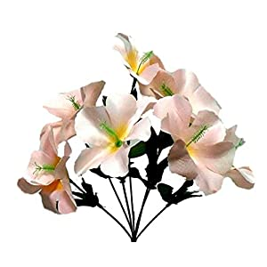 Beige/Champagne 5X Hibiscus Artificial Silk Flowers Centerpiece Fake Faux Bouquet Party Tropical, for Wedding and Craft Supplies