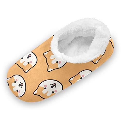 TropicalLife iRoad - Zapatillas de casa para perros Shiba Inu con dibujos animados y pies peludos, antideslizantes, cálidos, para casa, para mujeres y hombres, color, talla Large