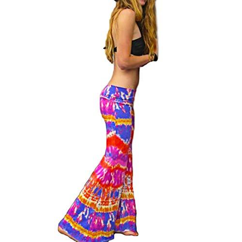 Yefree Moda Mujer Pantalones Delgados Pantalones Acampanados Leggings de Cadera Ajustados Vintage Impreso Gran Campana Inferior Pantalones Leggings