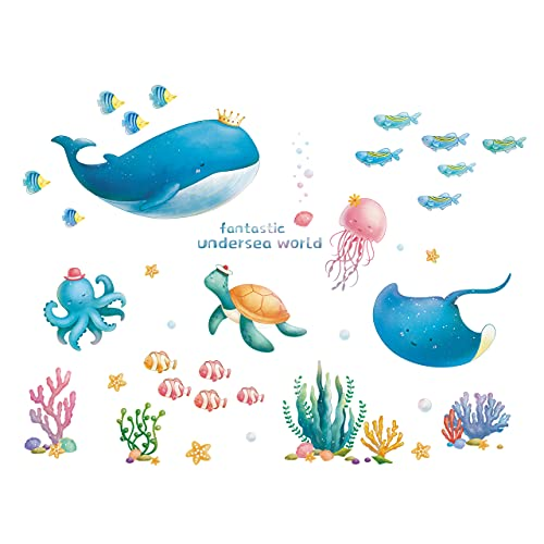 HUGE ME Ocean World Wall Decals Sea Fish Wall Stickers Wall Murals Home Decoration for Kids Room Baby Room Bedroom Bathroom Living Room Decor