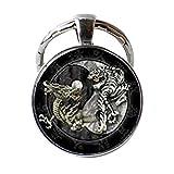 Llavero de dragón y tigre retro, diseño de Tai Ji Yin Yang antiguo símbolo de cristal...
