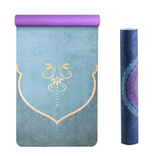 PPuujia Alfombrilla de ejercicio antideslizante de 2 mm de ante para yoga, antideslizante, color impreso, para gimnasio, viajes, pilates, 61 cm (color: Xianghuawanqian)