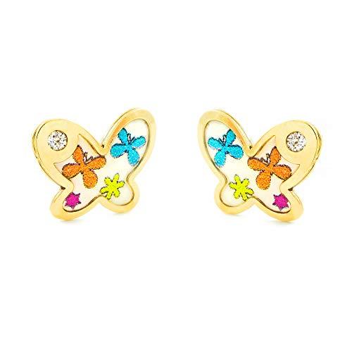 Pendientes Oro Bebe o Niña Mariposa esmalte colores circón (9kts)