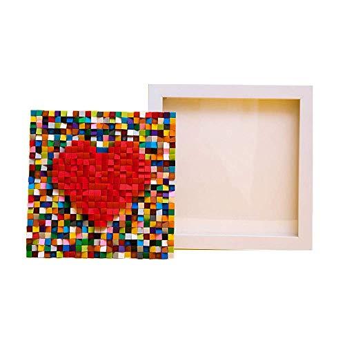 Kreative Liebe Bilderrahmen Bausteine DIY Montage Ziegelstein 3D Puzzle Modell Pädagogische Spielzeug Raumdekorationen, Kunsthandwerk für Kinder Erwachsene Geschenk, weiß mit leichter String 8bayfa