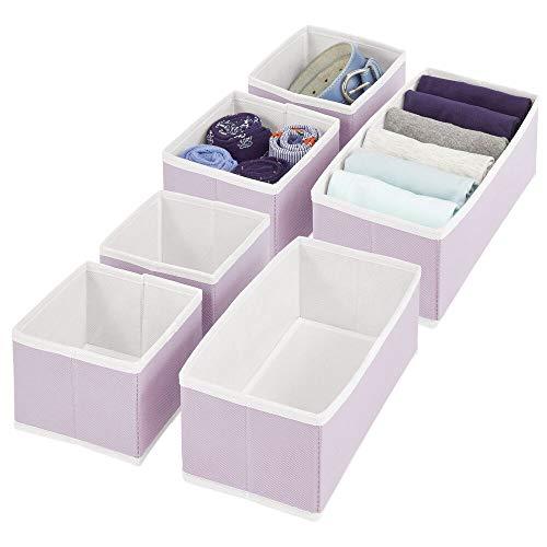 mDesign 6er-Set Aufbewahrungsbox – atmungsaktive Stoffbox für Socken, Unterwäsche, Leggings etc. – vielseitige Schubladen Organizer für Schlaf- und Kinderzimmer – lila/weiß