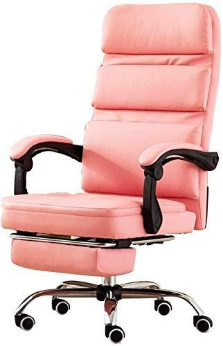 CHAIR Stuhl Möbel Computerstuhl Home Boss Stuhl Bürostuhl, Modern Minimalist Recliner Bequemer Drehstuhl Aluminium Fußstuhl,Rosa,64 * 64 * 121 cm
