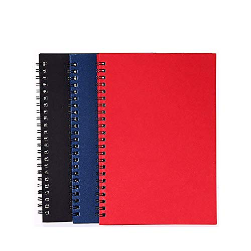 GRT 3 Packs Soft Cover Spiral Notebooks with Lined Paper A5 Steno Notepad 150 Sheets Totally, Wirebound Notebook for Home Office School Travel Diary Memo Journal, 8.25 x 5.55 inch (Black Red Blue)