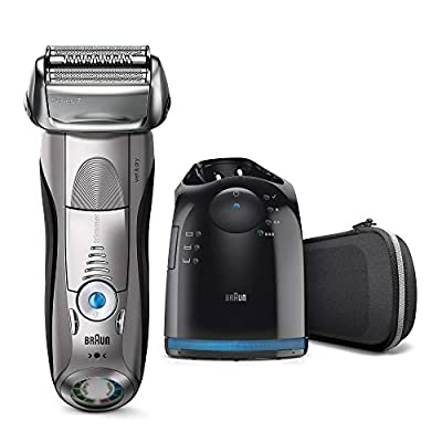 Braun Series 7 Electric Shaver for Men 7898cc, Wet and Dry, Integrated Precision Trimmer, Rechargeable and Cordless Razor with CleanandCharge Station and Premium Travel Case, Silver from Procter & Gamble