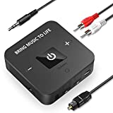 Golvery Bluetooth V5.0 Transmitter and Receiver, Wireless Optical TOSLINK and 3.5mm Aux Adapter, Low Latency for TV Car Stereo Home Audio with Song/Volume Control, Supports 25 Hours Playing