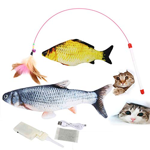 Coriver 3 en 1 Catnip Fish Toys & Feather Wand Cat Toy, Realistic Plush Electric Wagging Fish con Carga USB, Simulación Lavable Electric Moving Fish Almohada interactiva para Peces para Mascotas