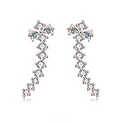 Rose Gold Plated Crawler Cuff Wrap Climber Earrings