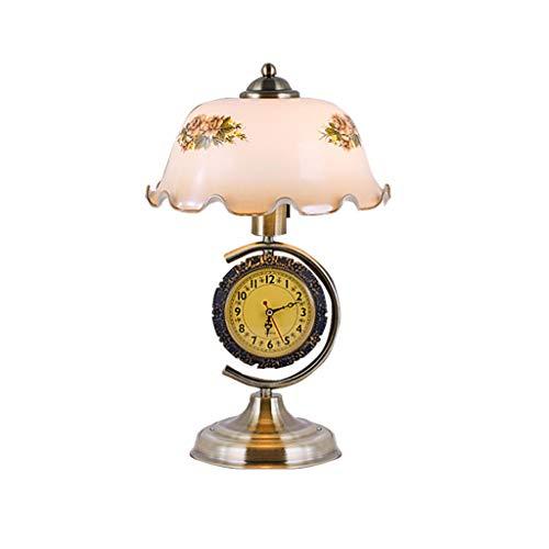 LCTCTD Vintage Tischlampe Flower Lampenschirm, antiker Messingfuß geeignet für Schlafzimmer, Büros, Cafés, Arbeitszimmer (17,33 '' * 10,62 '' * 6,62 '' (Farbe : B, größe : Dimming Switch)