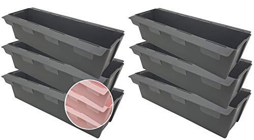 Pilix Paletten Blumenkasten Europalette 6er mit patentiertem Stecksystem | 37 cm 6 Stück Anthrazit | Pflanzkasten Europalette Kunststoff | Einsätze für Europaletten Blumenkästen Europalette