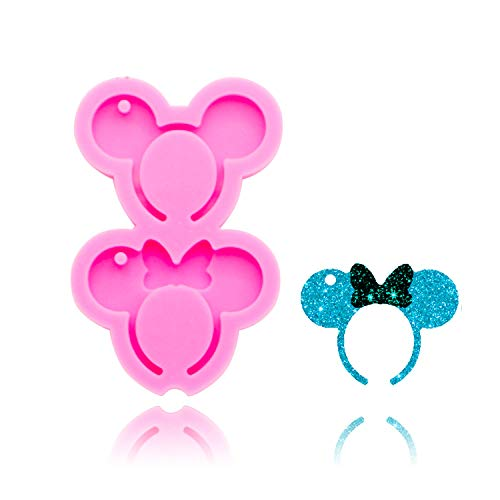 Mouse Headband Head Bow Shape Keychain Silicone Mold with Hole DIY Ice Cream Pudding Crystal Cupcake Cake Topper Decoration Desserts Fondant Mold Gum Paste Jelly Shots Candy