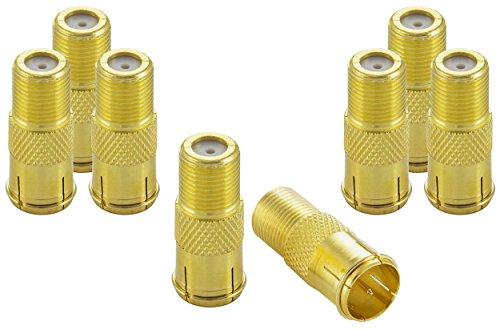 Poppstar 8X SAT F-Quickstecker (Coax Schnellverbinder: F-Buchse auf F-Stecker) Kupplung für Koaxialkabel - Antennenkabel, vergoldet