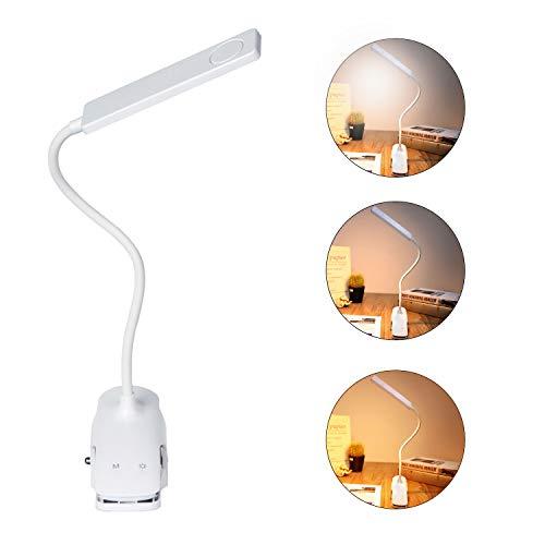 Leselampe, 24 LED Klemmleuchte USB Wiederaufladbare, 3 Farb und 3 Helligkeitsstufen Dimmbar schreibtischlampe klemmbar 360°Flexibel leselampe buch klemme
