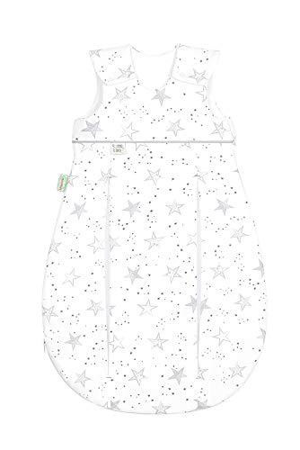 Set Odenwälder Baby-Schlafsack Prima Klima & Stoffwindel von Kinderhaus Blaubär | Ganzjahresschlafsack längenverstellbar | leichter Schlafsack atmungsaktiv, Größe:80, Design:Sterne grau