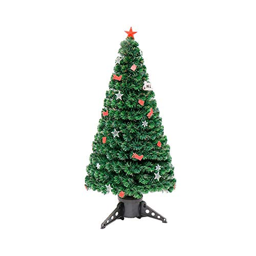 SMQHH Christmas Tree Artificial Christmas Tree Tall Artificial Tree Multi-Colored Fiber Optic LED Pre-Lit Holiday Home Christmas Decoration,Green (Size : 90cm(3FT))