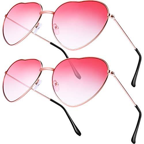 2 Pares de Gafas de Sol de Marco en Forma de Corazón en Estilo Hippy para Accesorio de Disfraz de Hippie, Marco Dorado Rosa (Lente Rojo Gradiente)